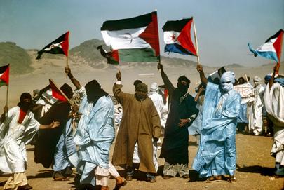 Manifestación saharaui contra el colonialismo español
